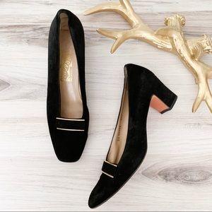 Salvatore Ferragamo Shoes - Salvatore Ferragamo Black Velvet Gold Trim Heels